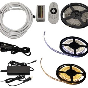 2-in-1 16.4 FT LED Light Strip Kit w/ Dimmer Remote Control - Warm White & Cool White