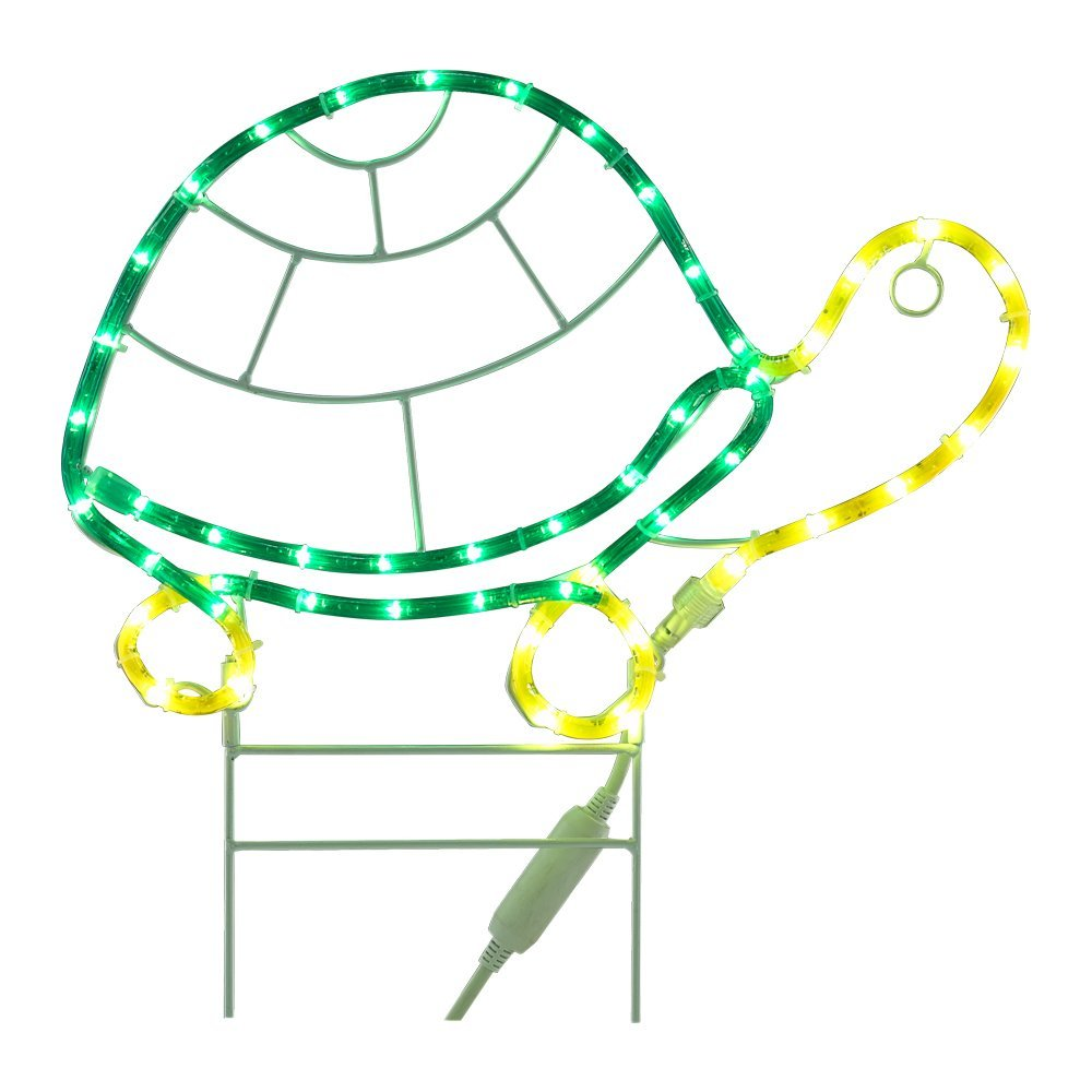 "18"" Turtle Decorative LED Light - Green/Yellow Rope"